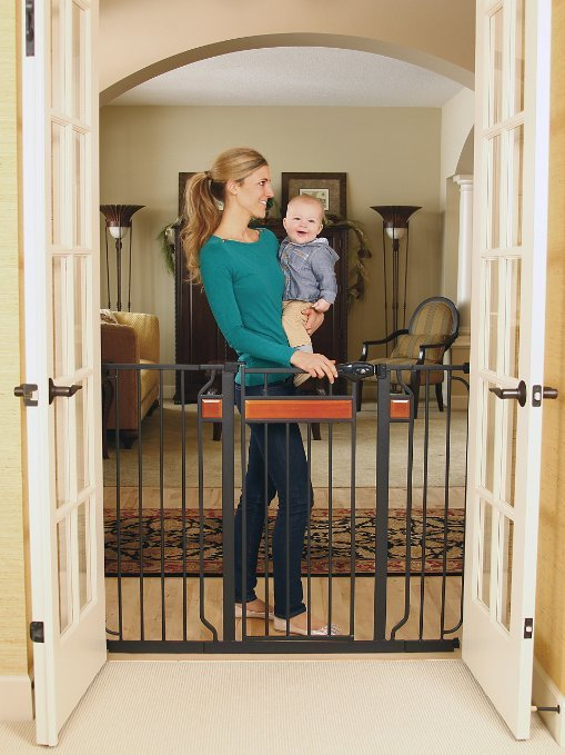 Regalo Home Accents Extra Tall Walk Thru Gate, Hardwood and Steel1